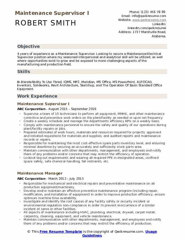 Maintenance Supervisor I Resume Format