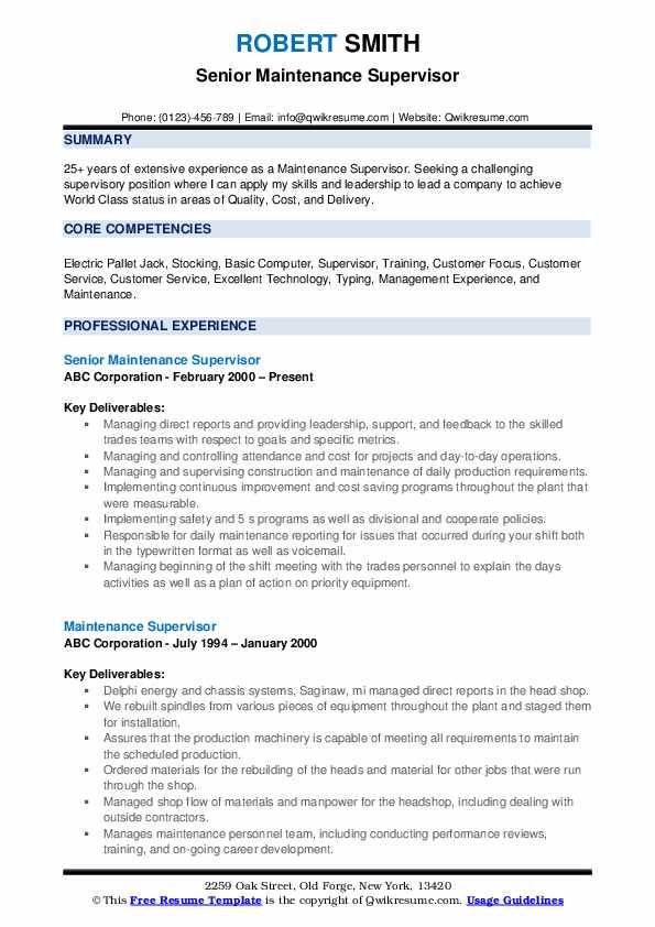 Senior Maintenance Supervisor Resume Sample