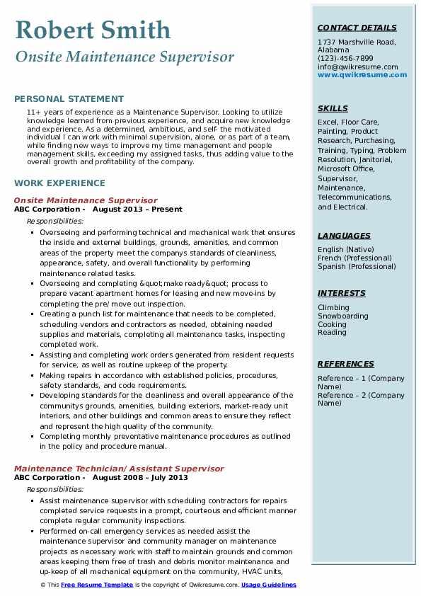 Onsite Maintenance Supervisor Resume Model