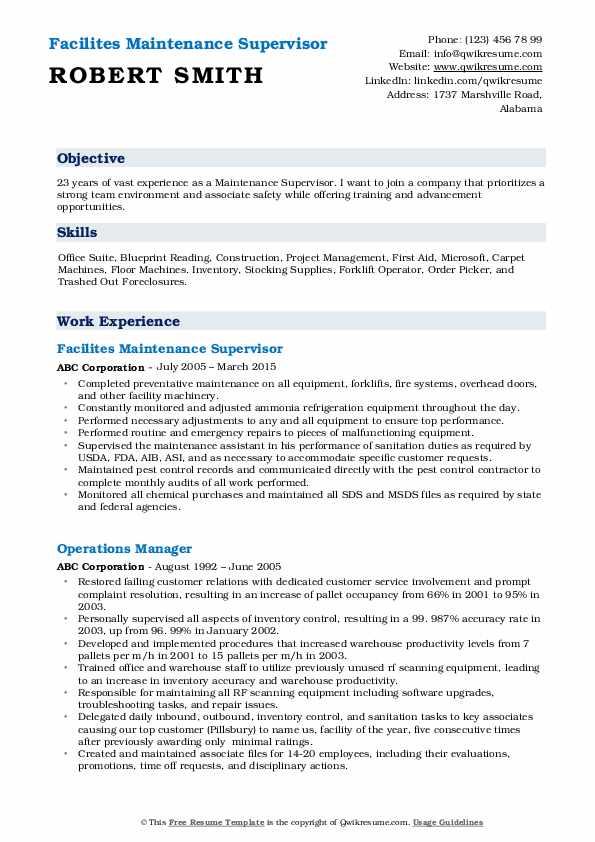 Facilites Maintenance Supervisor Resume Example
