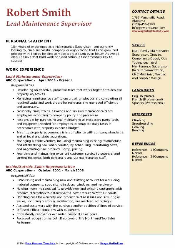 Lead Maintenance Supervisor Resume Example