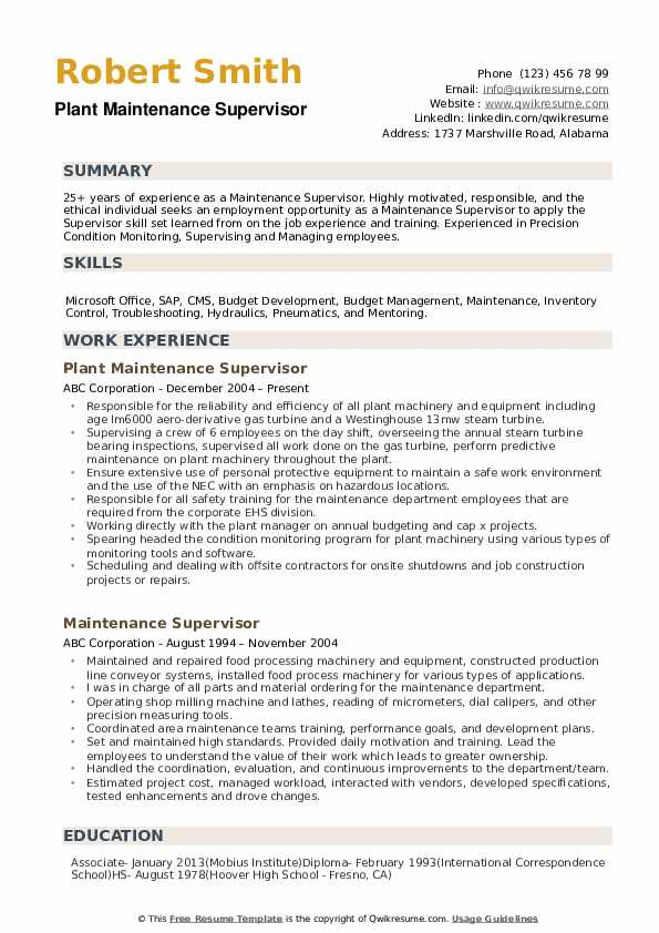 Maintenance Supervisor Resume Samples | QwikResume