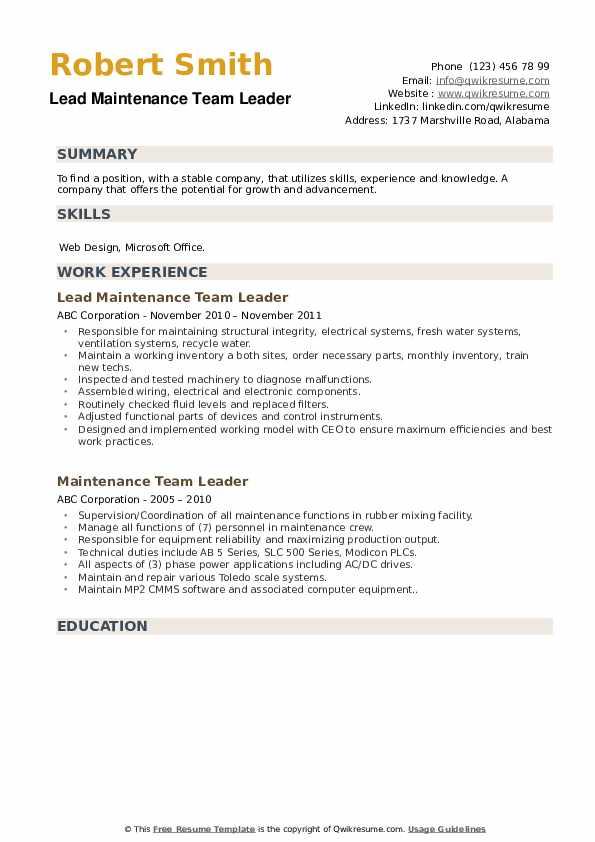 Crew Foreman Resume example