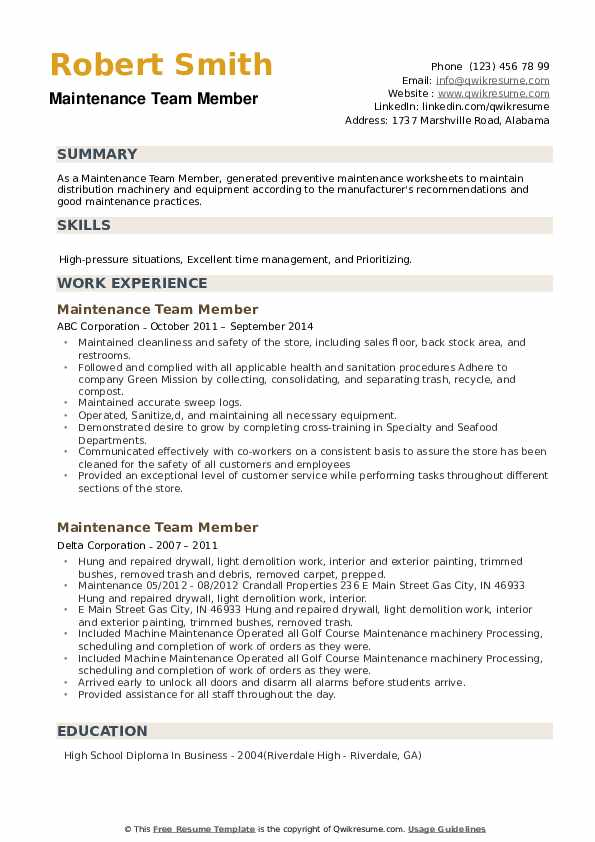 Maintenance Team Member Resume example