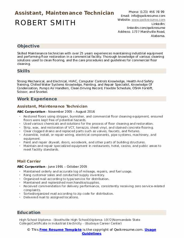 Maintenance Technician Resume Samples | QwikResume