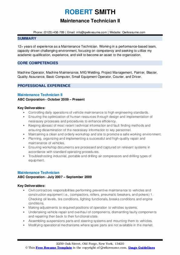 maintenance technician resume samples