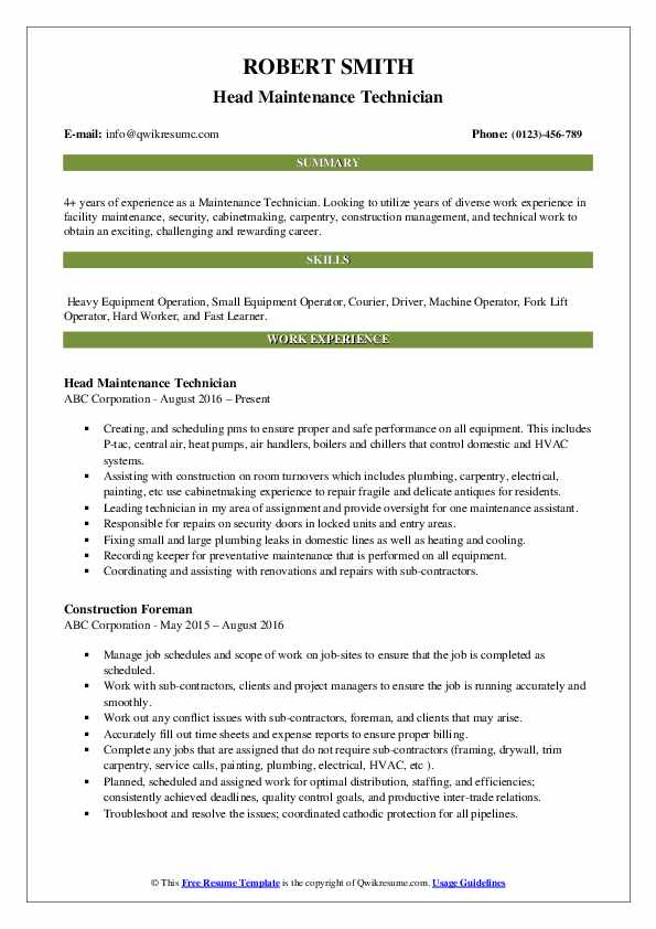 maintenance technician resume samples  qwikresume