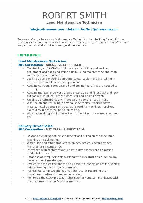 Lead Maintenance Technician Resume Format
