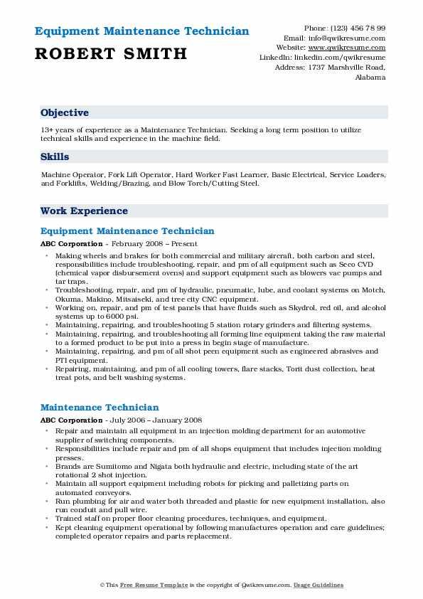 Maintenance Technician Resume Samples | QwikResume