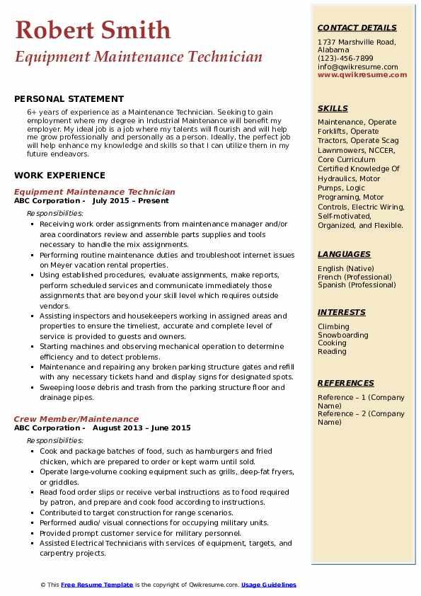 Equipment Maintenance Technician Resume Model