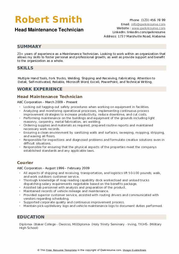 maintenance technician resume samples
