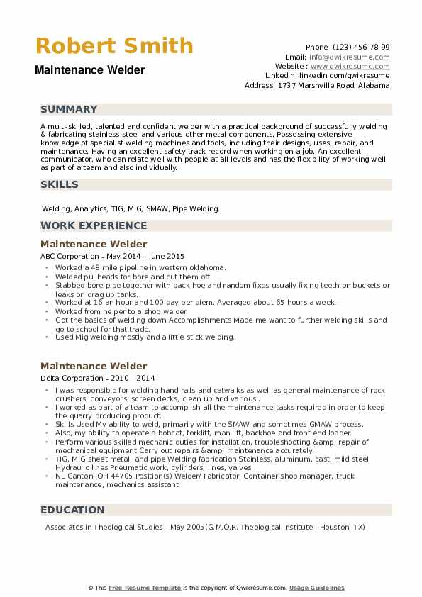 Maintenance Welder Resume example
