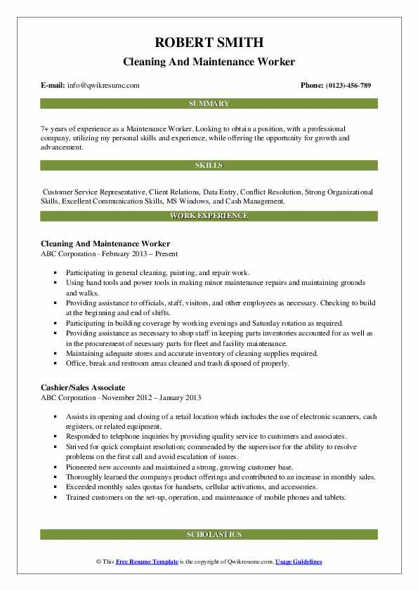 Cleaning And Maintenance Worker Resume Model