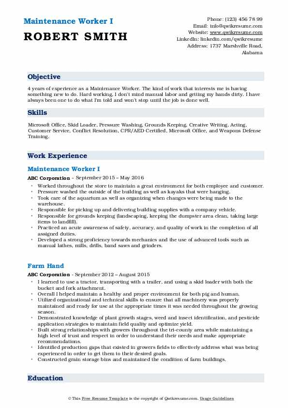 Maintenance Worker I Resume Example