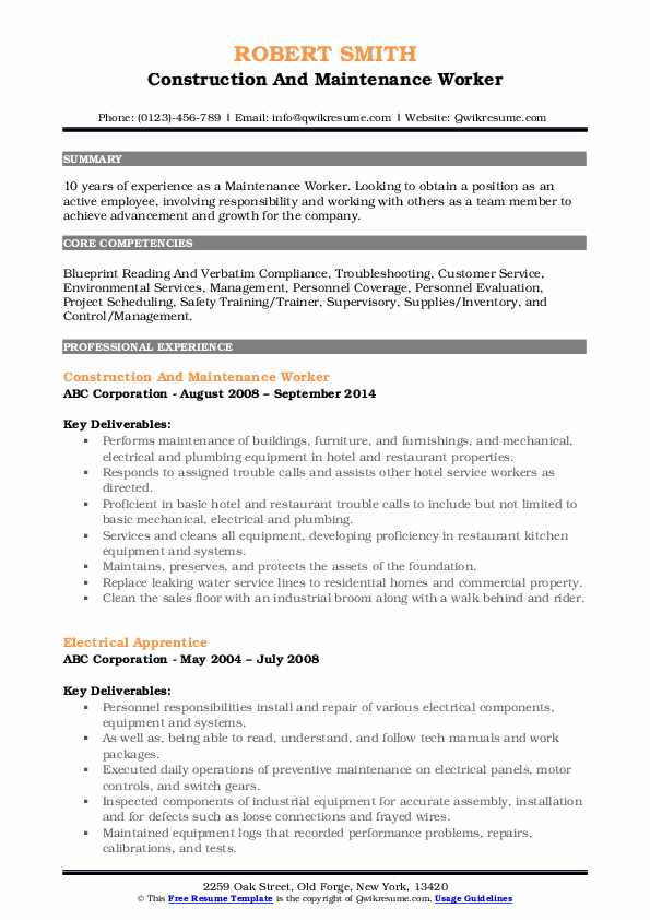 Construction And Maintenance Worker Resume Sample