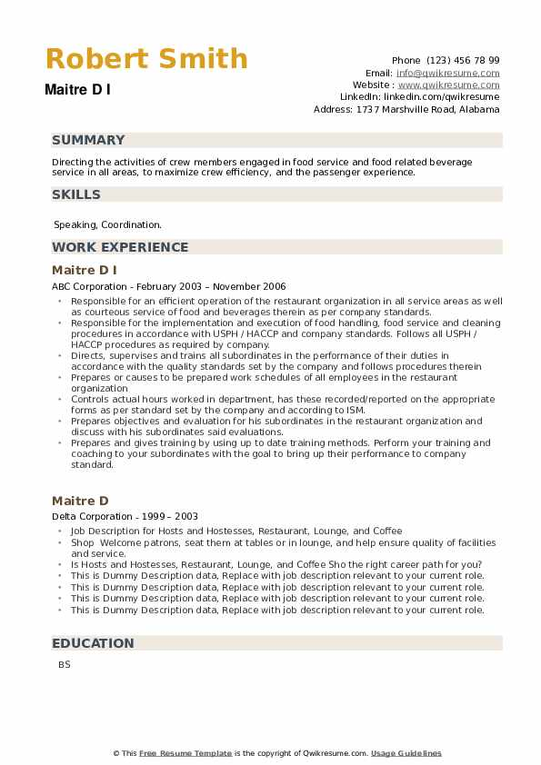 Maitre D Resume example
