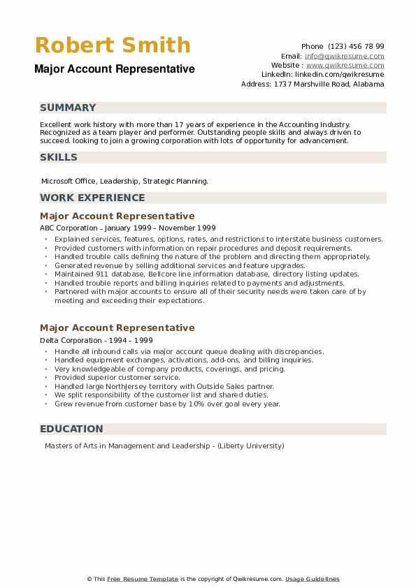 Major Account Representative Resume example