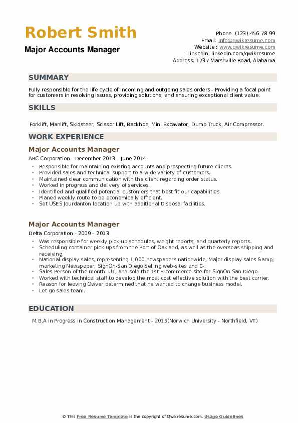 Major Accounts Manager Resume example