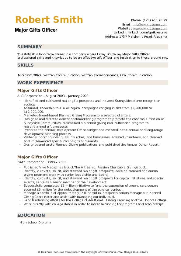 Major Gifts Officer Resume example