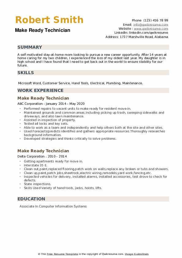 Make Ready Technician Resume example