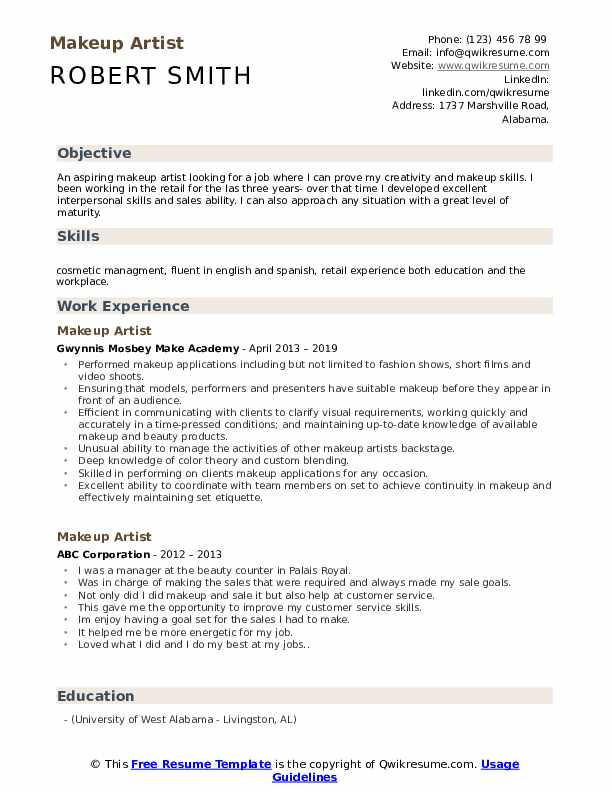 Makeup Artist Resume Samples | QwikResume