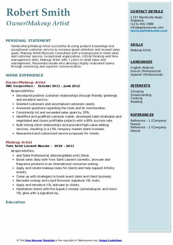 Owner/Makeup Artist Resume Format