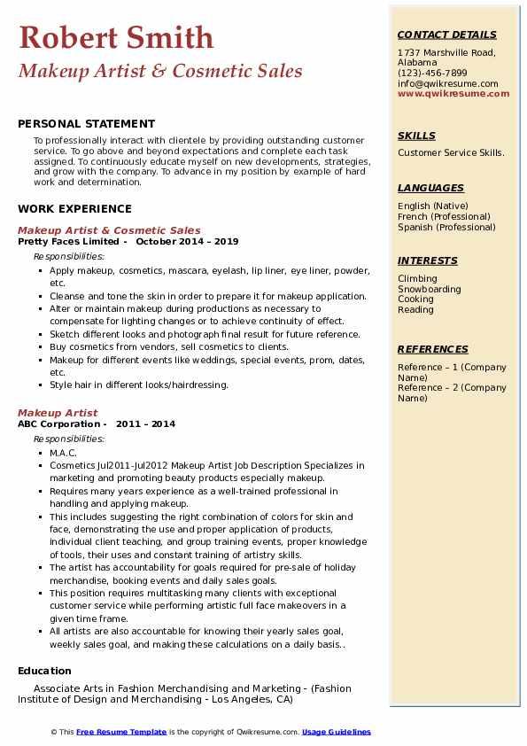 Makeup Artist & Cosmetic Sales Resume Format