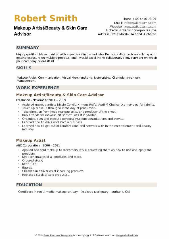 Makeup Artist/Beauty & Skin Care Advisor Resume Model
