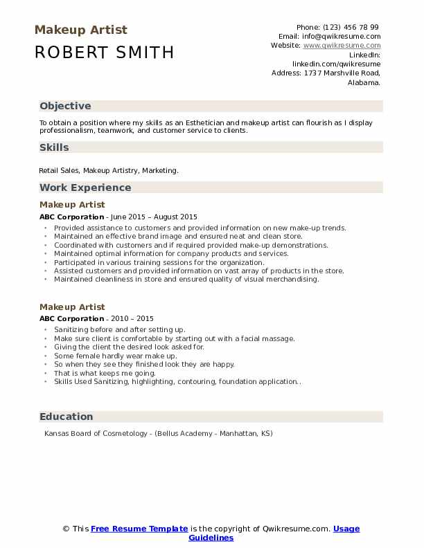 Makeup Artist Resume Samples Qwikresume