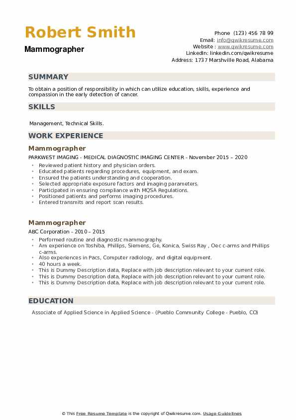 Mammographer Resume example