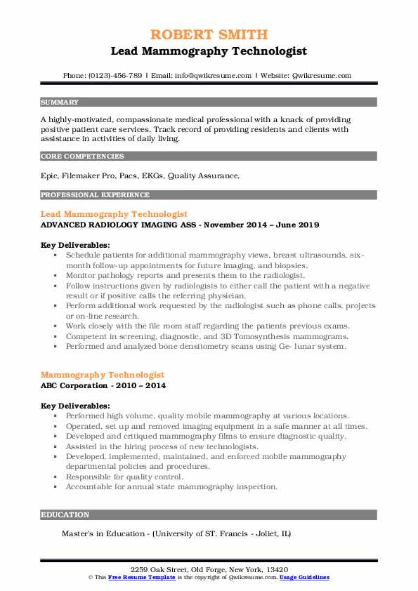 mammography technologist resume samples