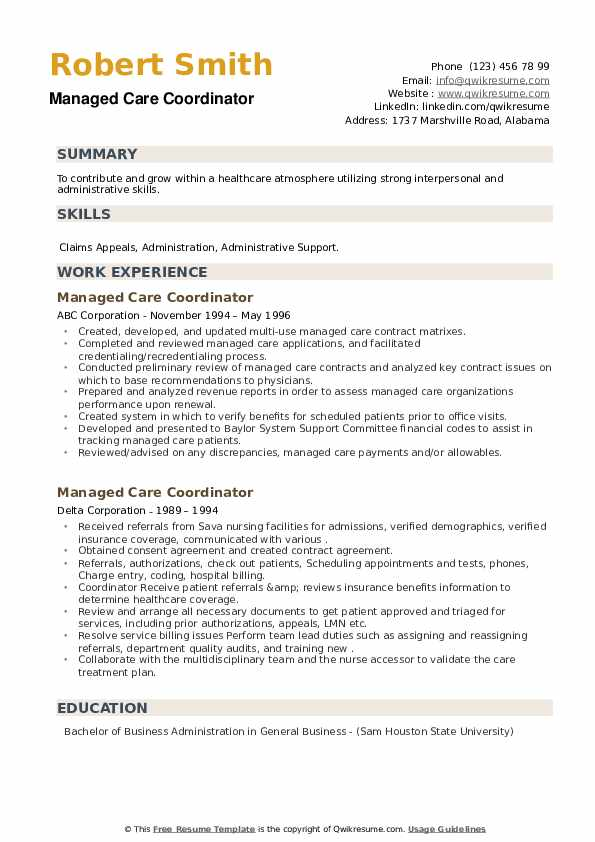 Managed Care Coordinator Resume example