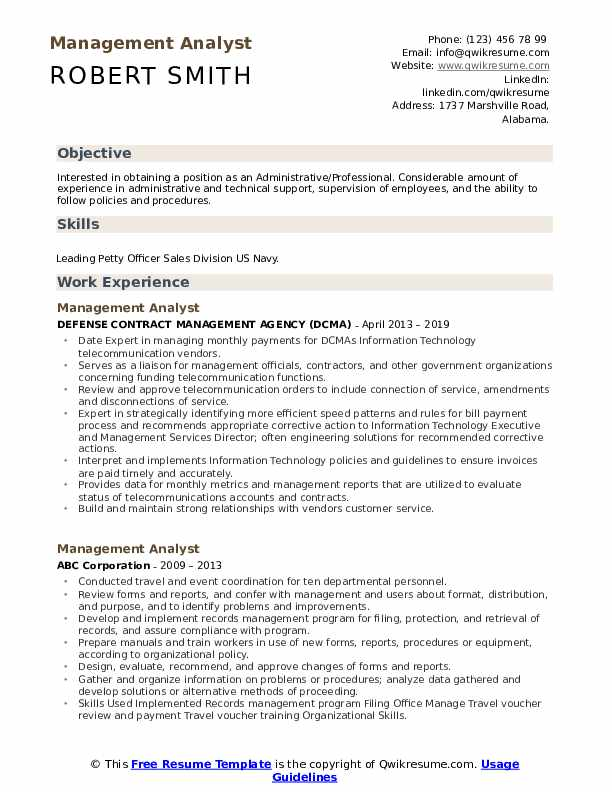 Management Analyst Resume Template