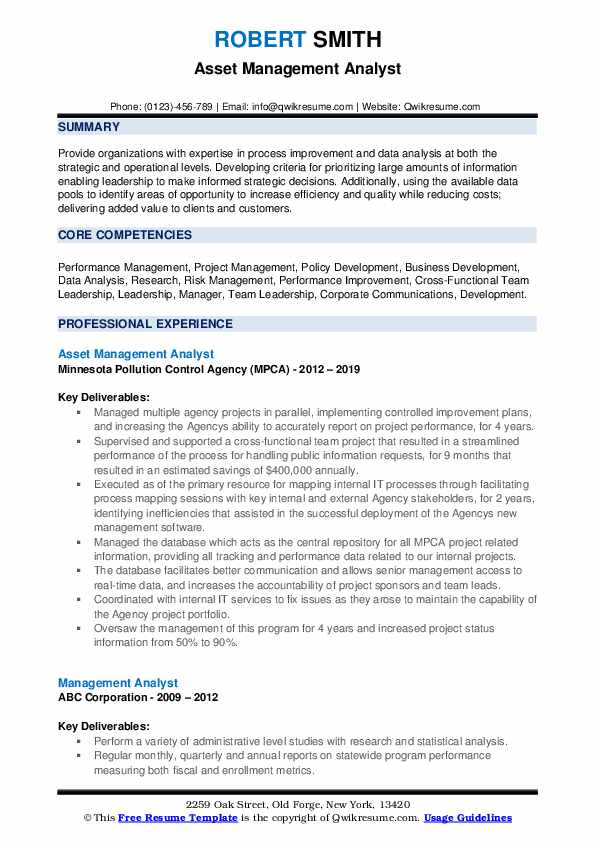 Asset Management Analyst Resume Model
