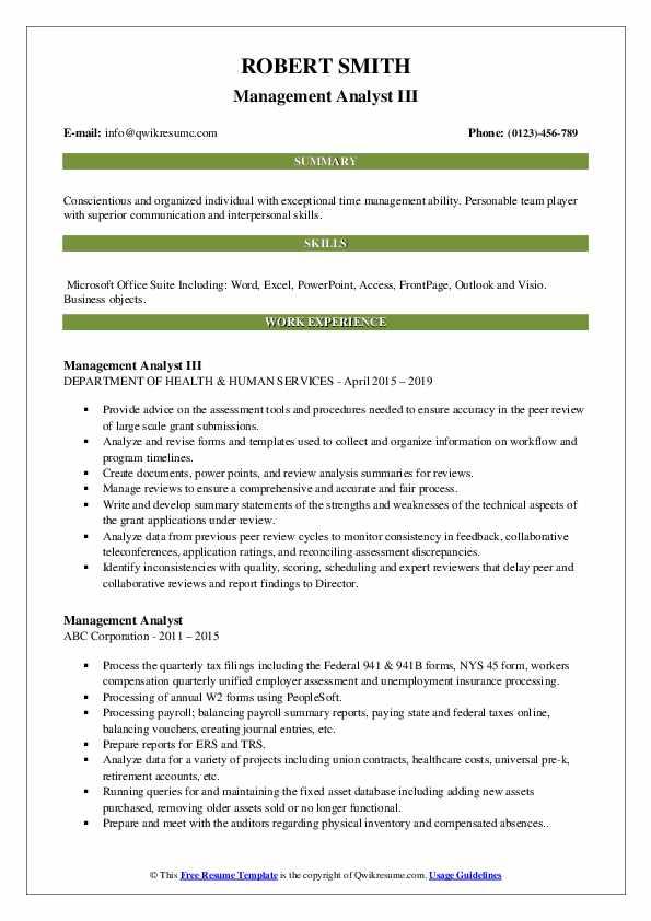 Management Analyst III Resume Template