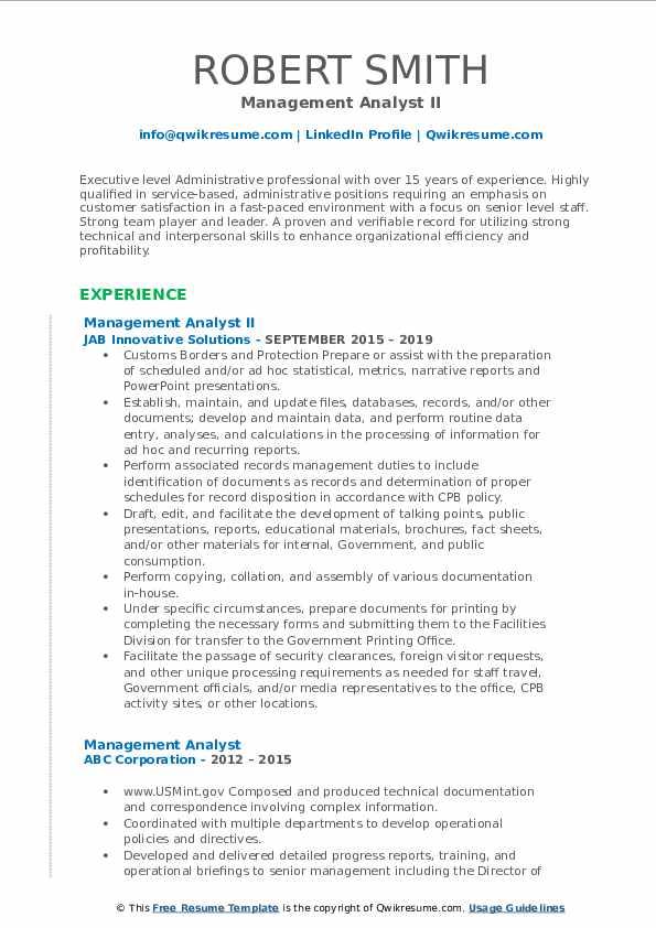 Management Analyst II Resume Format