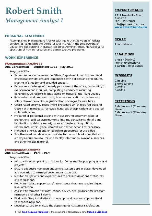 Management Analyst I Resume Model