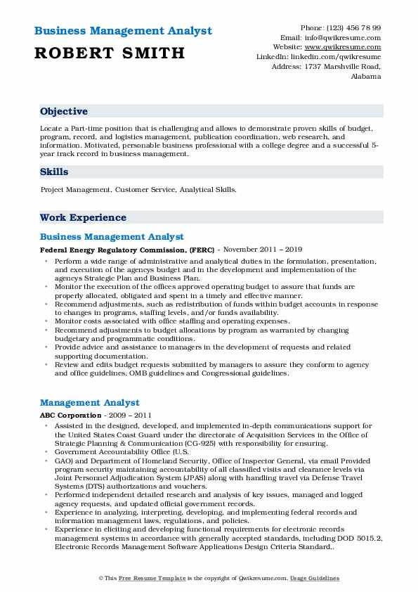 Business Management Analyst Resume Template