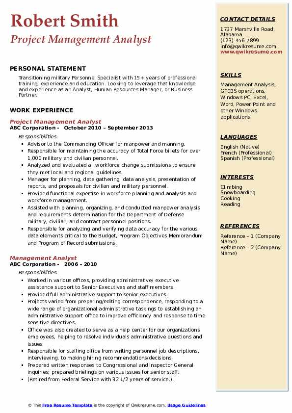 Project Management Analyst Resume Template