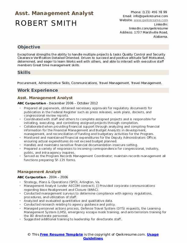 Asst. Management Analyst Resume Example