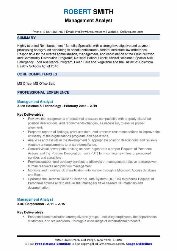 Management Analyst Resume example