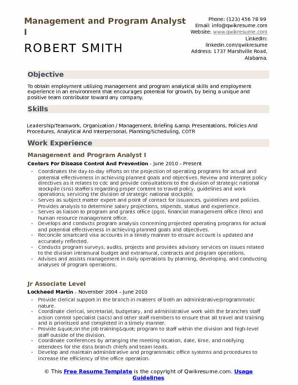 Management and Program Analyst I Resume Model