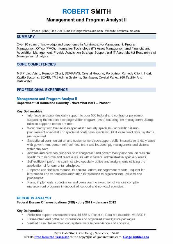 Management And Program Analyst II Resume Example