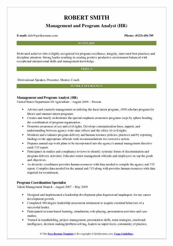 Management and Program Analyst (HR) Resume Template