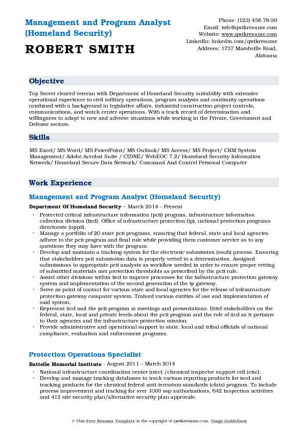 Management and Program Analyst (Homeland Security) Resume Example
