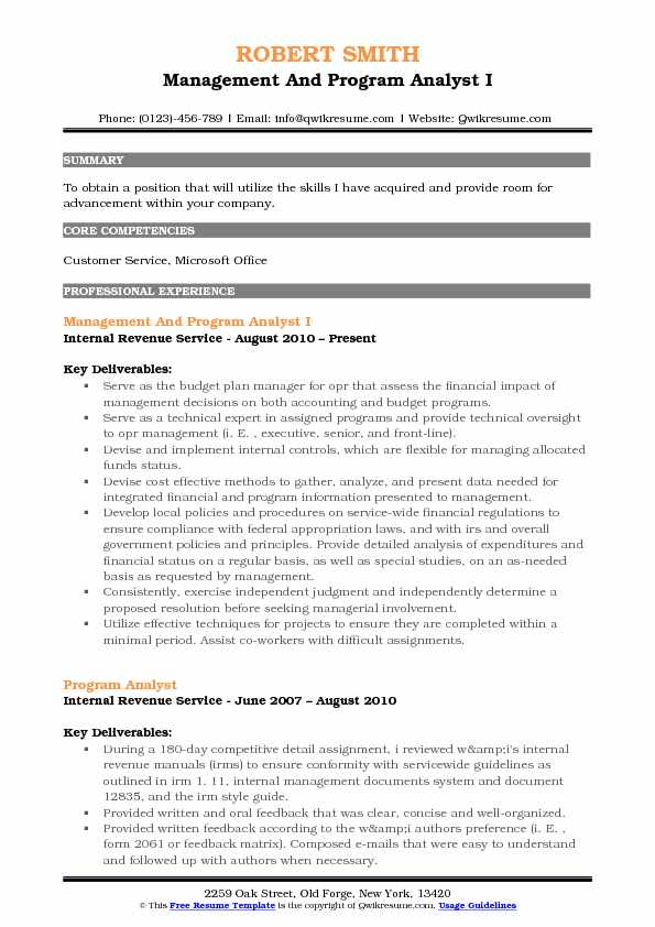 Management And Program Analyst I Resume Sample