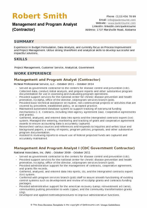 Management and Program Analyst (Contractor) Resume Template