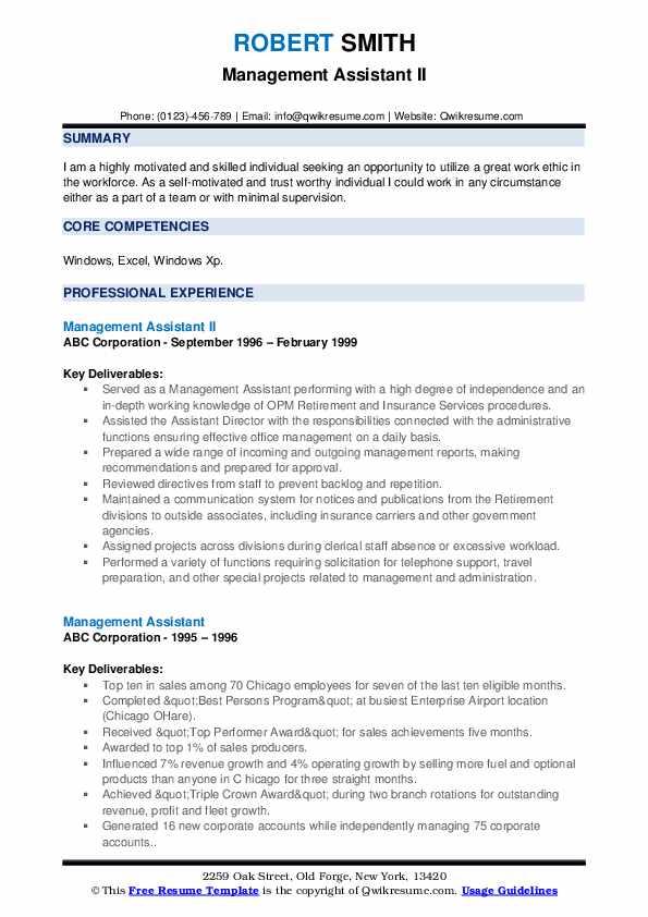 Management Assistant II Resume Format