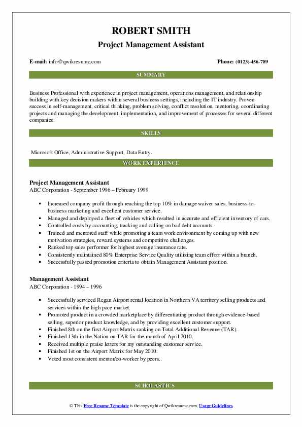 Project Management Assistant Resume Template