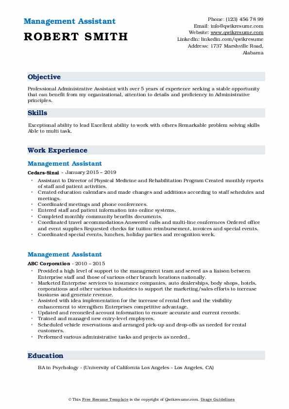Management Assistant Resume Format